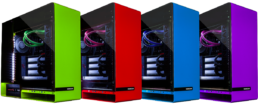 4 Maingear Rush PCs in Green, Red, Blue and Purple