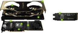 Exploded view of the Titan RTX graphics card.