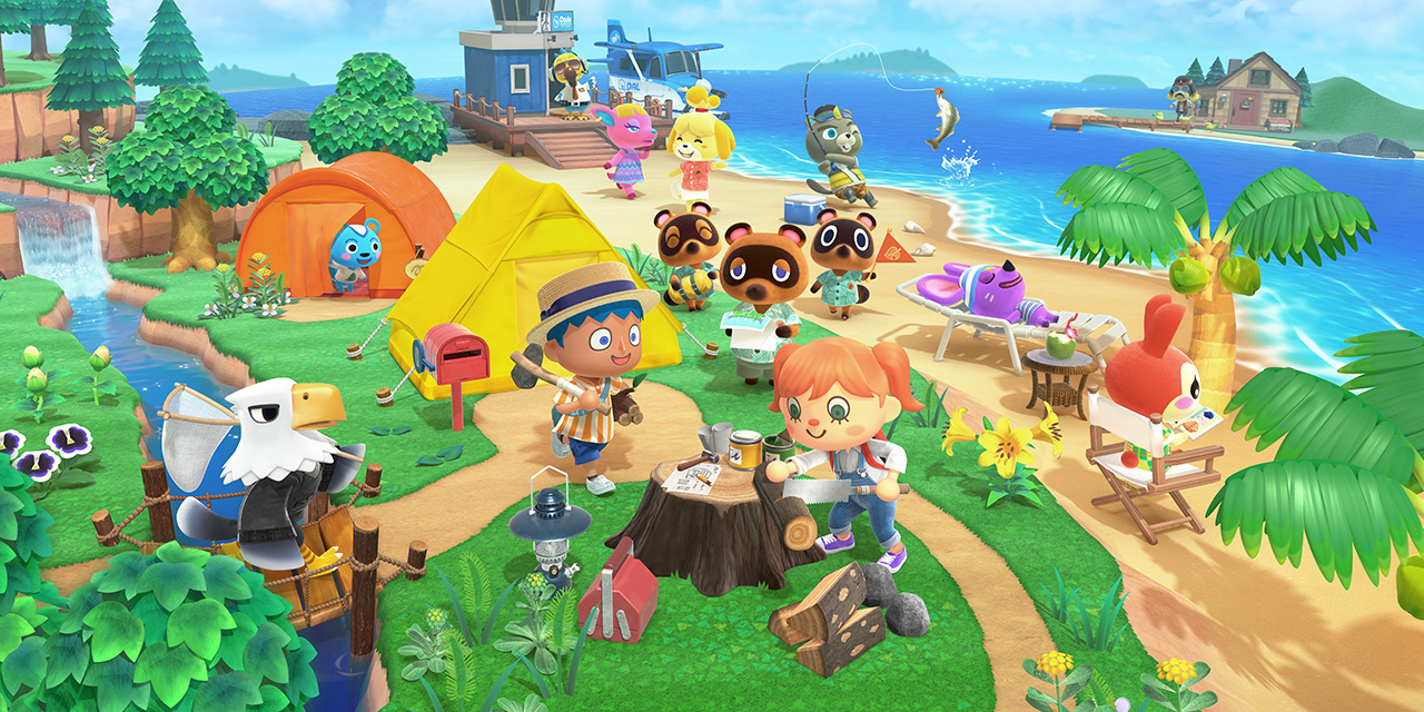 Cover art for animal crossing new horizons featuring characters gathered on a beach with a tent and crafting table