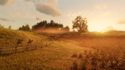 A countryside scene in Red Dead Redemption 2