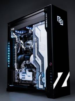 A Maingear F131 in black and white with Zedd's logo on the front.